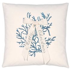 Add a touch of nautical flair to your holiday decor with delightful throw pillow, featuring a coral motif and bow accent.   Product:...
