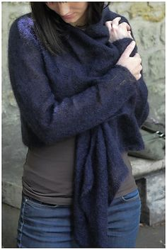 Ravelry: Glad pattern by Sarah Hatton in Rowan book # 39.  Knitted in 2ply yarn.  Love this design described as a cardigan but really equally, a wrap