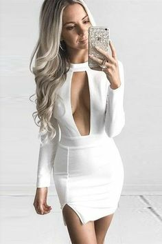 Sheath Jewel Long Sleeves Keyhole Short White Satin Homecoming Dress on Luulla Tight Dresses, Sexy Dresses, Cute Dresses, Short Dresses, Party Dresses, Night Outfits, Sexy Outfits, Cute Outfits, Fashion Outfits
