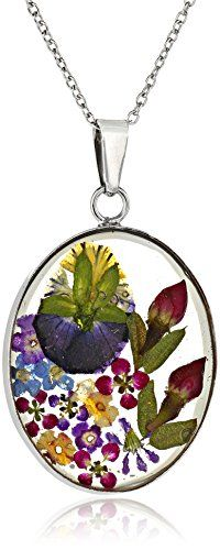 Sterling Silver Multi Pressed Flower Oval Pendant Necklace, 18""