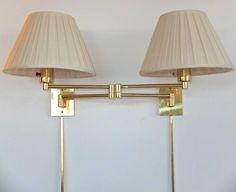 Pair of Georg W. Hansen Brass 1706 Double Swing Arm Wall Lamps 1970