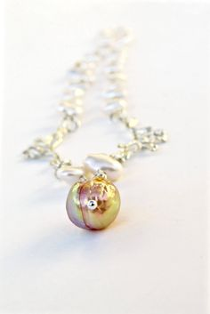 """Kasumi-like Pink Pearl """"Cherry Blossom"""" Necklace in Sterling by getawaygirl on Etsy"""
