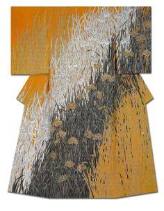 """Hanautsu Kenji"". Silk kimono created by Keni Nakai. Winner of the Governor of Kyoto Prefecture Award at the 31st Annual Meeting of the Japanese textile artist Exhibition award. Japan"