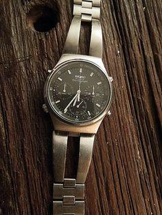 70's Vtg Seiko Chronograph with stainless monaco bracelet get it at IronCrowVintage