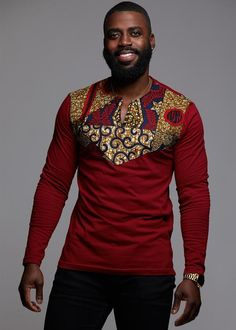 Our Lanre African print Men's long sleeve maroon t-shirt in our maroon multipattern applique is perfect for cooler weather! Shop our Men's African clothing and find your new favorite African print shirt. African American Fashion, African Print Fashion, Africa Fashion, African Fashion Dresses, African Attire, African Wear, African Style, American Art, Modern African Clothing