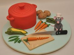 First Ratatouille Cake! Fancy Cakes, Cute Cakes, Amazing Cakes, Beautiful Cakes, Ratatouille, Chef Cake, Vegetable Cake, Disney Cakes, Novelty Cakes