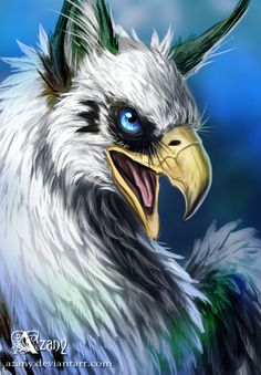 Griffin in blue by Azany.deviantart.com on @deviantART