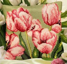 Cross Stitch Kit TULIPE A DROITE PILLOW COVER