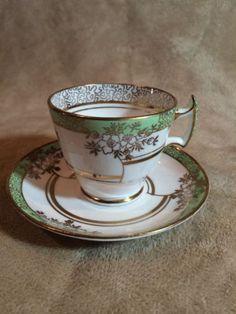 Vintage-Tea-Cup-amp-Saucer-PHOENIX-Bone-China-T-F-amp-S-ENGLAND-Green-amp-Gold-WOW
