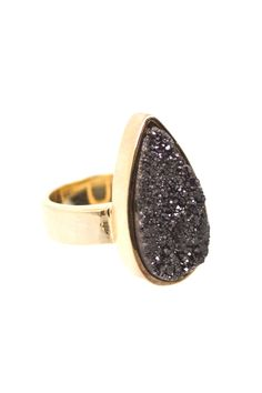 The Stardust Ring features black druzy cut quartz in an elegant teardrop shape. $34