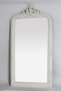 Graceful with an intricately detailed frame and Cherub Crest top. A delicate sublime mirror creating a sensation of provincial French charm Finished in French White this Wall or Floor standing Mirror is completely mesmerising Shabby Chic Spiegel, Shabby Chic Mirror, Floor Standing Mirror, Leaning Mirror, Interior Styling, Interior Design, Paint Furniture, Furniture Ideas, Cottage Chic