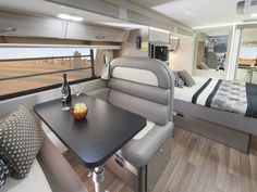 The C7923SL Esperance motorhome features a larger slideout which fits the dinette, fridge and bed. The slideout can be opened at the press of a button while parked to increase the living space inside the motorhome.