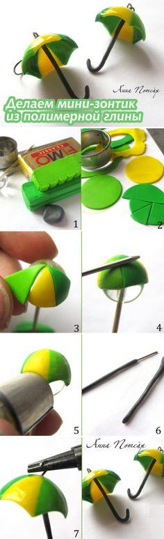 Лепим кукольный зонтик их полимерной глины / Polymerclay mini umbrella tutorial