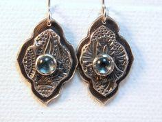 Sterling silver blue topaz earrings gemstone drop by BirdandBeed