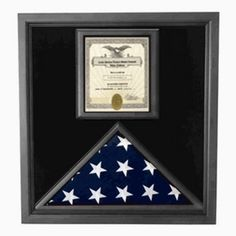 Flag and Certificate Case - Black Frame-American Madeby veterans Premium USA-Made Solid wood Flag And Document Case Black Finish Flag display cases with certif Medal Display Case, Award Display, Coin Display, Display Cases, Medal Displays, Display Stands, Display Ideas, Framed American Flag, Certificate Frames
