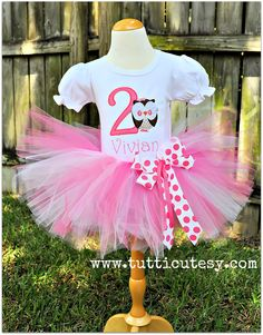 Owl Birthday Tutu Outfit in Pinks.