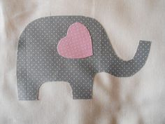 "Set of 12 Cute Grey Elephant Quilt Blocks 6 1/2"" x 6 1/2"" Fusible Applique"
