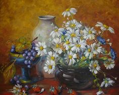 Oil painting by Helen Harper Helen Harper, Sun Flowers, Drawing, Daisies, Oil Paintings, Flower Art, Still Life, Heaven, Pottery