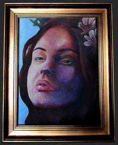 Acrylic on canvas, portrait - Title: Insomniac  63 x 50 centimeters