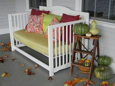 This was once a baby crib. What a great way to recycle it. Love this idea.