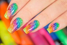 Simply Nailogical: Sparkly highlighter rainbow nail art, amazing that you can do this with a simple highlighter! Cute Nail Art, Cute Acrylic Nails, Glitter Nails, Cute Nails, Pretty Nails, Glitter Art, Classy Nails, Sparkly Nails, Glitter Makeup