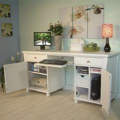 Fairmont White Computer Hideaway Desk - clever way to hide computer equipment