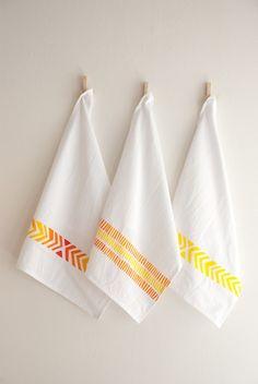 organic cotton tea towel in chevron pattern.