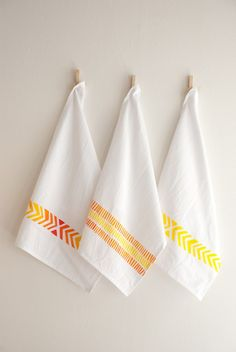 organic cotton tea towel in chevron pattern.