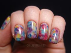Watercolor Nails- base coat, 2 layers of top coat, dots of colour, spread with brush dipped in acetone. Repeat. Top coat.