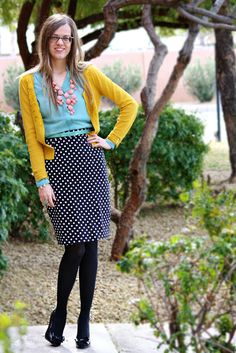 Polkadot skirt, mustard cardi, teal blouse , coral necklace. a few of my favorite things!!!