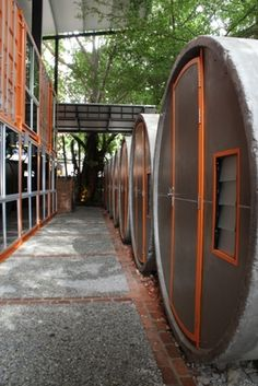 Container Hotel @ Kuala Lumpur Container Hotel, Container House Design, Hostels, Capsule Hotel, Hotel Room Design, Cool Tree Houses, Outdoor Restaurant, Underground Homes, Tech House