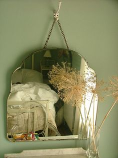 love old mirrors. love old mirrors on a chain and hook! Decor, Interior, Vintage House, Old Mirrors, House Styles, Home Decor, Beautiful Mirrors, Mirror Wall, Mirror