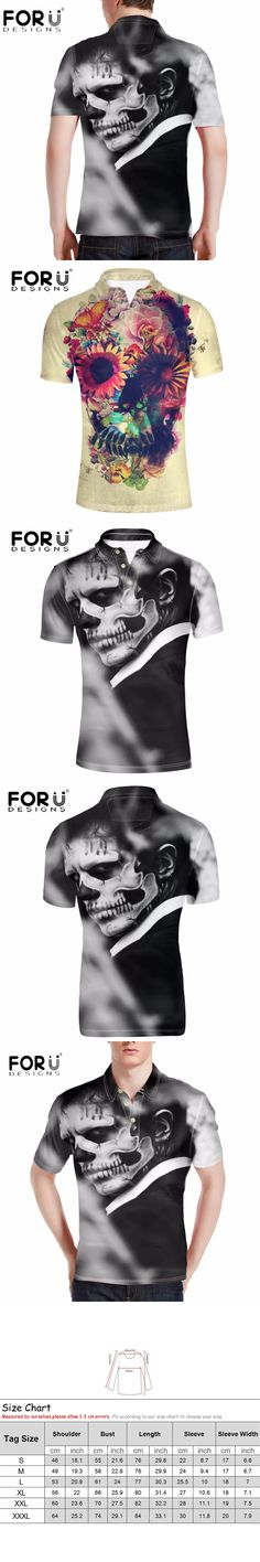 FORUDESIGNS Fashion Punk Skulls Print Polo Shirt For Man Polo Ralph Men's Short Sleeve Breathable Casual Polos Camisa Masculina