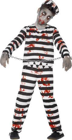 Déguisement zombie prisonnier garçon Halloween : Ce déguisement de zombie prisonnier pour garçon se compose d'un haut, d'un pantalon, d'un chapeau, d'une chaîne et d'une planche d'autocollants (chaussures... Costume Garçon, Cheap Halloween Costumes, Halloween Fancy Dress, Halloween Outfits, Halloween Kids, Zombie Halloween, Halloween Party