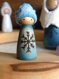 Waldorf Snow Princess, Holiday Ring Doll, Winter Doll, Winter Birthday, Winter Nature table, Wood, Wool, White, Snow, blue
