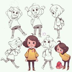 Look like chara from undertale Children Drawing, Children Cartoon, Children Sketch, Baby Cartoon, Character Art, Character Design Animation, Character Design Girl, Character Poses, Character Sheet