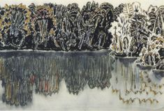 David Milne (Canada, 1882 - Dark Shore Reflected, Bishop's Pond, 1920 Watercolor on Paper x cms Canadian Painters, Canadian Artists, Abstract Landscape, Landscape Paintings, Abstract Art, Landscapes, David Milne, Montreal Museums, Black And White Tree