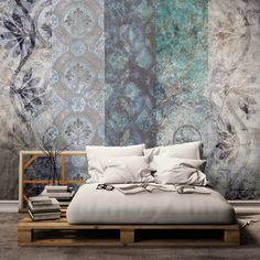 Designs and geometries for a classic as well as modern wallpaper, inspired by the frescoes of ancient Rome. Home Bedroom, Master Bedroom, Bedroom Decor, Wall Decor, Contemporary Decor, Modern Decor, Bed Design, House Design, Modern Wallpaper