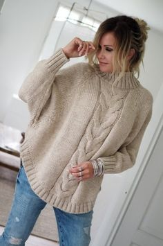 Fashion Elle's media content and analytics Easy Sweater Knitting Patterns, Knitting Paterns, Knitting Designs, Casual Sweaters, Cable Knit Sweaters, Knitted Cape, Knit Fashion, Cardigans For Women, Crochet