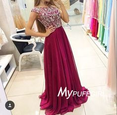 2016 Cap Sleeves Cut Out Back Chiffon Prom Dress With Beaded Bodice