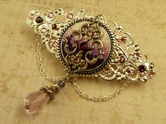 Noble Barrette in antique pink purple silver Polymer Clay Hair Accessories - pinned by pin4etsy.com