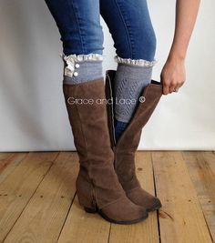 Dainty Lace Boot Cuffs - GREY knit boot topper lace trim & buttons - faux legwarmers - lace cuff - leg warmers boot warmers (C10-13) on Etsy, $24.00