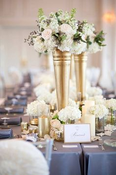 Gold vase with pastel roses, dining centerpiece Gold Wedding Centerpieces, Wedding Reception Decorations, Wedding Table, Table Decorations, Luxe Wedding, Wedding Events, Wedding Grey, Perfect Wedding, Summer Wedding