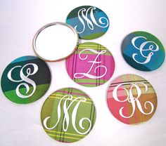 Monogrammed Purse Mirrors – these make great gifts! Mother's Day gifts, bridesmaid gifts, gifts for her, personalized gifts, unique gifts, bridal party gifts