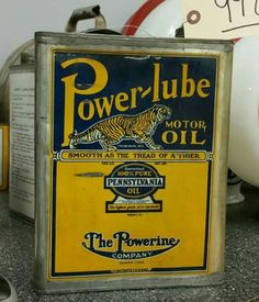 Early Power-Lube 1 Gallon Motor Oil Can