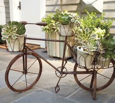 Bicycle Planter: Wrought iron is formed into the shape of a vintage bicycle, creating a showcase for plants. Looped wire baskets on the handlebars, seat & over the old-fashioned kickstand provide space for up to 6 small plants / Pottery Barn Outdoor Planters, Garden Planters, Outdoor Gardens, Outdoor Decor, Indoor Outdoor, Wall Planters, Garden Fun, Herb Garden, Outdoor Ideas