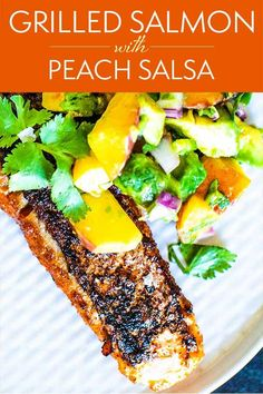 A peach-avocado salsa is a delicious complement to this grilled salmon. A grill pan ensures the salmon stays crispy throughout the cooking process without sticking to the grill. Winner! #salmon #grilledsalmon #salsa #simplyrecipes