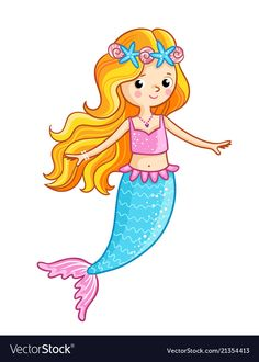 Mermaid on a white background. Vector illustration of a cartoon style on a children's theme. Mermaid Drawing Tutorial, Mermaid Drawings, Art Drawings For Kids, Drawing For Kids, Easy Drawings, Art Wall Kids, Art For Kids, Underwater Cartoon, Mermaid Cartoon