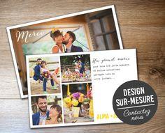 Assortissez vos cartes de remerciements mariage à votre faire-part.Une proposition de maquette à partir du graphisme de votre faire-part ou thème graphique de votre choix. Sur-mesure ou à partir de nos modèles préétablis, mettez-y une ou plusieurs photos, un peu, pas du tout ou beaucoup de textes…et la petite touche créative de Pastilles et Petits …
