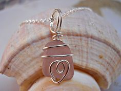 Beach Glass Pendant Sea Glass Necklace Pink by BeachGlassBaubles, $45.00